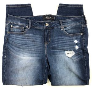 Torrid Destroyed Skinny Crop Jean